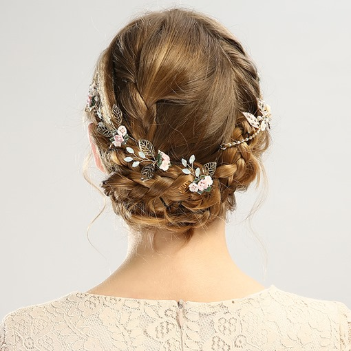Hollow Out Golden Leaf Flower Hair Band Hairpin Accessories