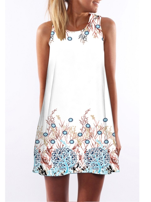 Sleeveless Print Round Neck Pullover Women's Day Dress