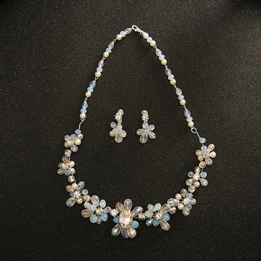 Rhinestone Flower Glass Jewelry Sets