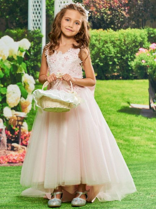 Lace Top Ankle-Length Girl Party Dress
