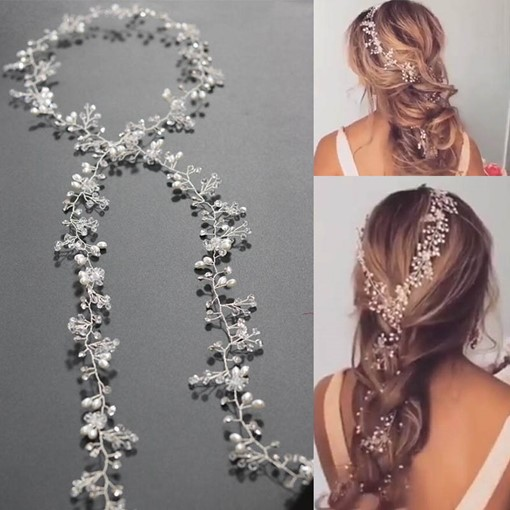 Rhinestone Inlaid Synthetic Pearl Hair Accessories