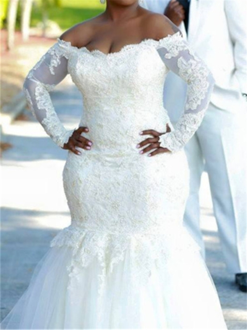 Off-The-Shoulder Appliques Mermaid Plus Size Wedding Dress
