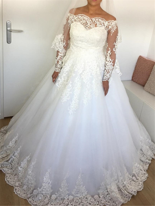 Long Sleeves Appliques Off the Shoulder Wedding Dress
