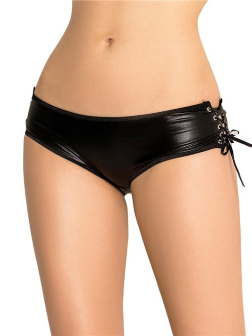 Open Crotch Lace-Up Plain Panty
