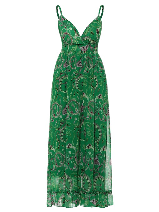 Spaghetti Strap Floral Print Vacation Women's Maxi Dress