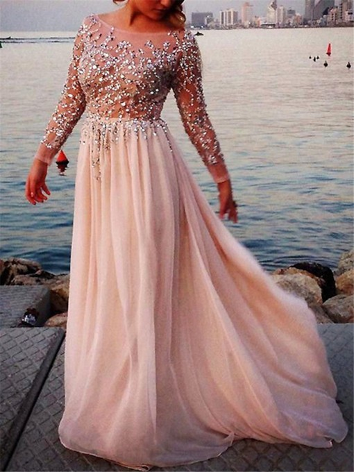Sheer Neck Beading Sequins Long Sleeve Evening Dress