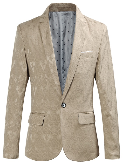 One Button Plain Men's Blazer