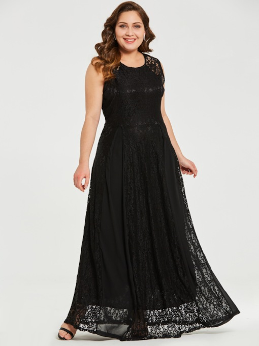 Lace Patchwork Plus Size Women's Maxi Dress