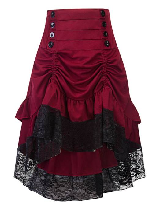 Asymmetric Gothic Color Block Lace Patchwork Women's Skirt