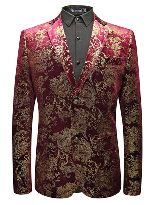 Notched Collar Gold Print Slim Men's Blazer