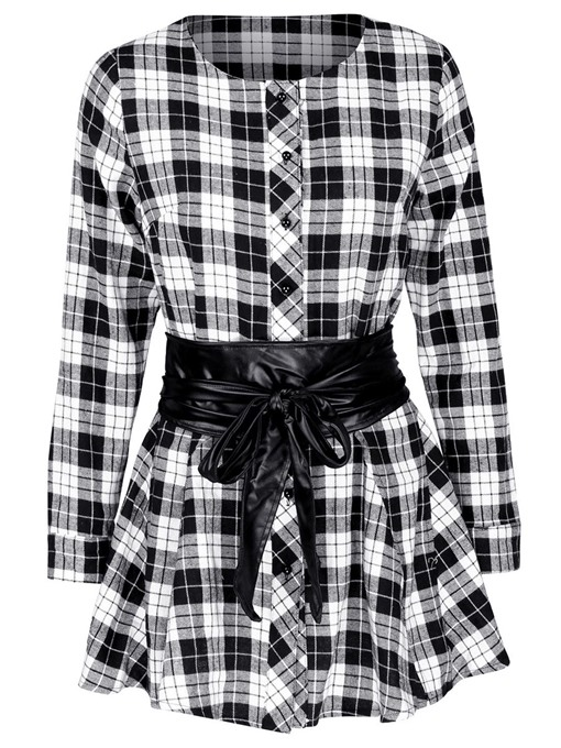 Single-Breasted Long Sleeve Plaid Women's Blouse