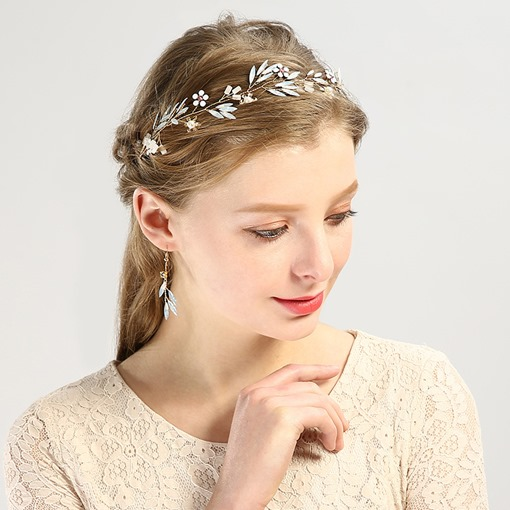 Flexible Golden Leaf Hair Band Earring Hair Accessories