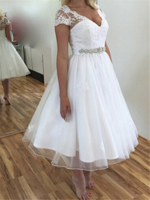 Short Sleeve Appliques Tea-Length Beach Wedding Dress