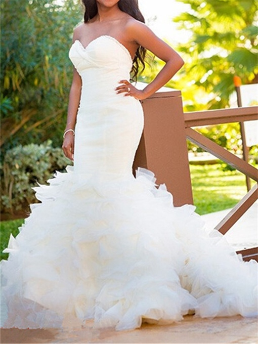 Sweetheart Beading Tiered Ruffles Mermaid Wedding Dress