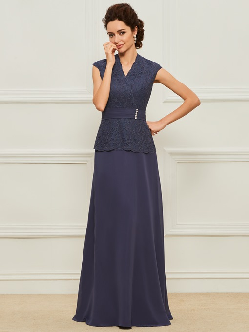 Cap Sleeve V-Neck Lace Mother of the Bride Dress