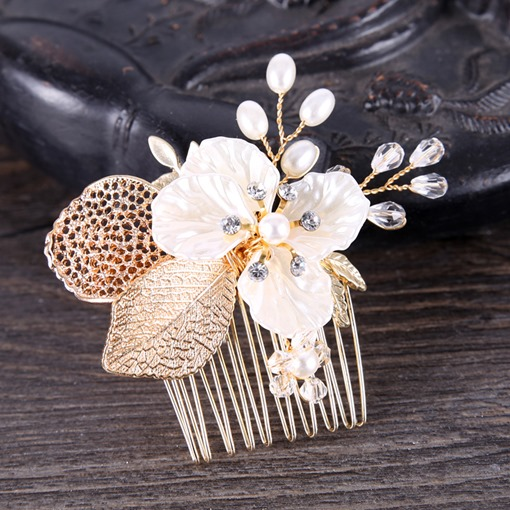 Gold Leaf Flower Tuck Comb Hair Accessories
