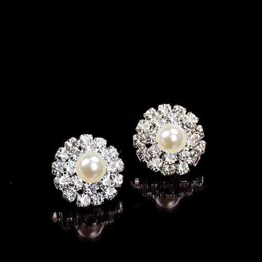 Shining Synthetic Pearl Diamante Earrings