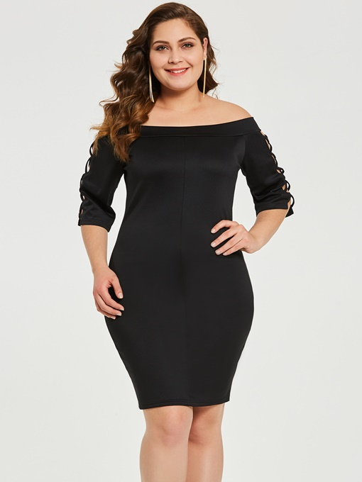 Off Shoulder Plus Size Women's Bodycon Dress
