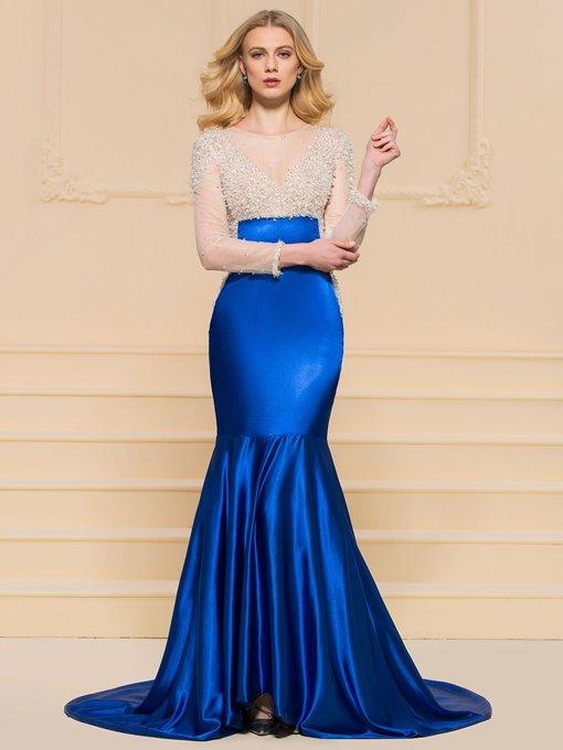 Mermaid Beading Scoop Long Sleeves Evening Dress