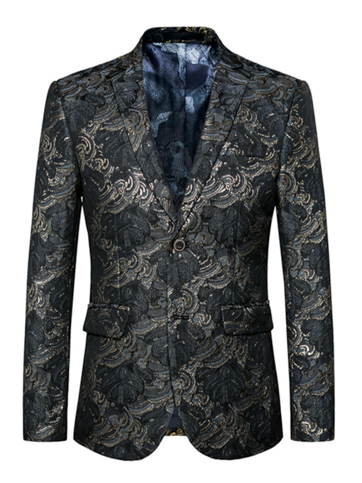 Double Button Floral Print Men's Blazer