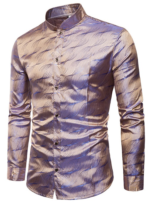 Stand Collar Bright Color Men's Leisure Shirt