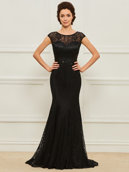 Cap Sleeve Sequins Lace Mother of the Bride Dress