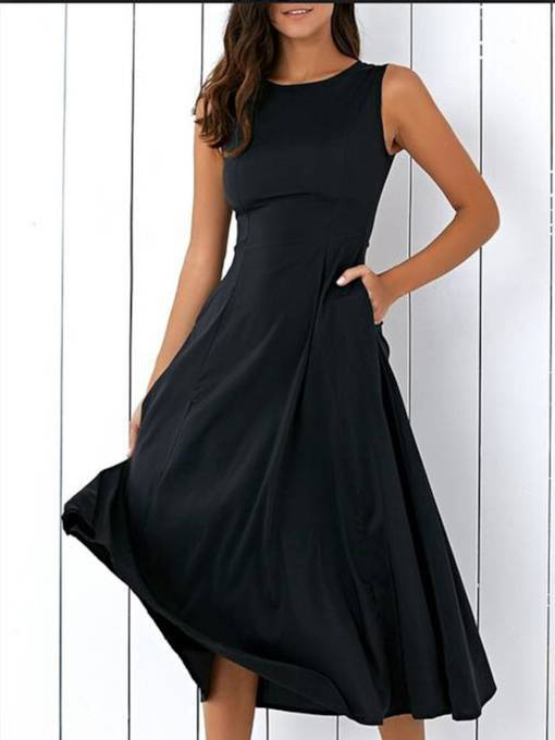 Black Sleveless Pockets Women's Day Dress