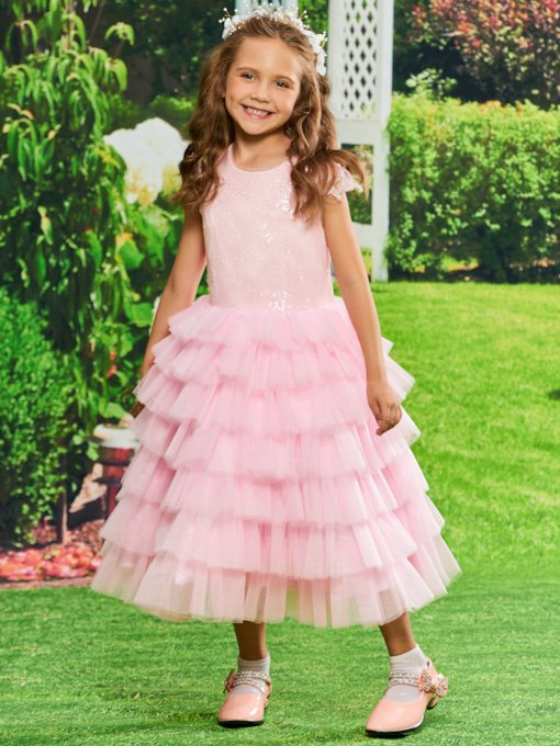 Sequined Appliques Tiered Tea-Length Girls Party Dress