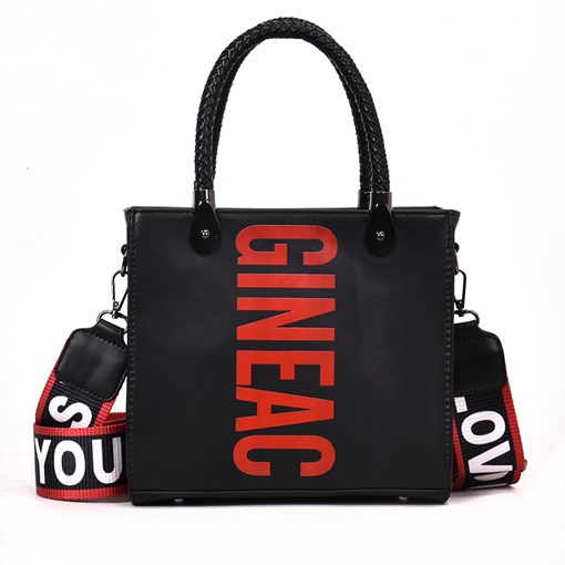 Stylish Letter Pattern Color Block PU Tote Bag