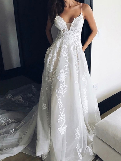 Spaghetti Straps Appliques Court Train Wedding Dress