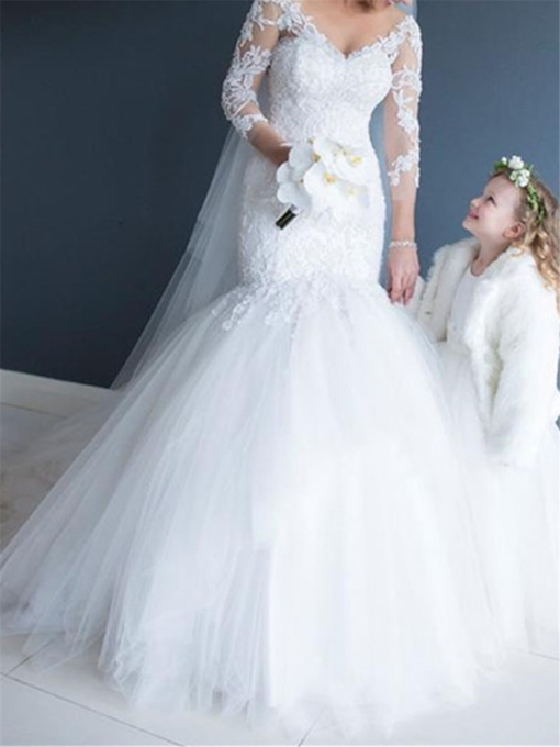 V-Neck Appliques 3/4 Length Sleeves Mermaid Wedding Dress