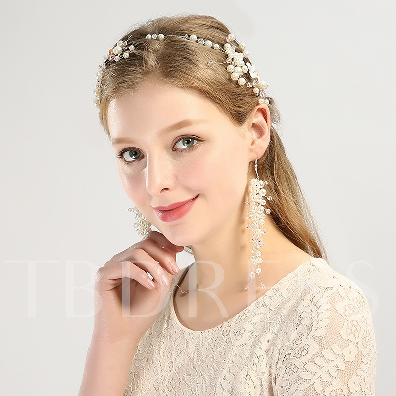 Image of Alloy Imitation Pearl Hair Band Earring Hair Accessories