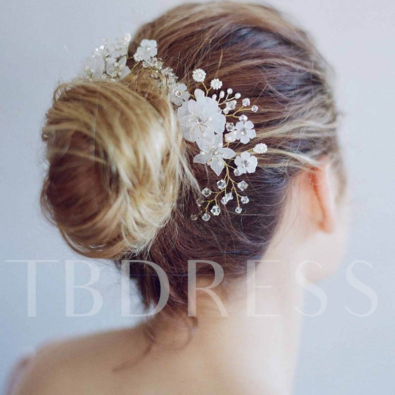 Image of Flower Glass Synthetic Pearl Hair Accessories