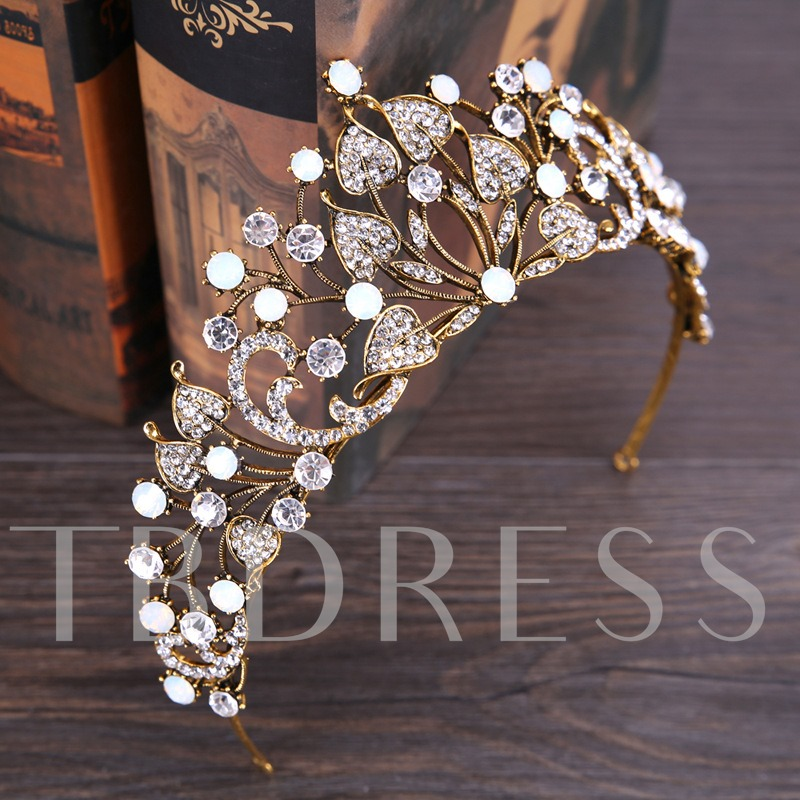 Hollow Out Diamante Leaf Crown Hair Accessories