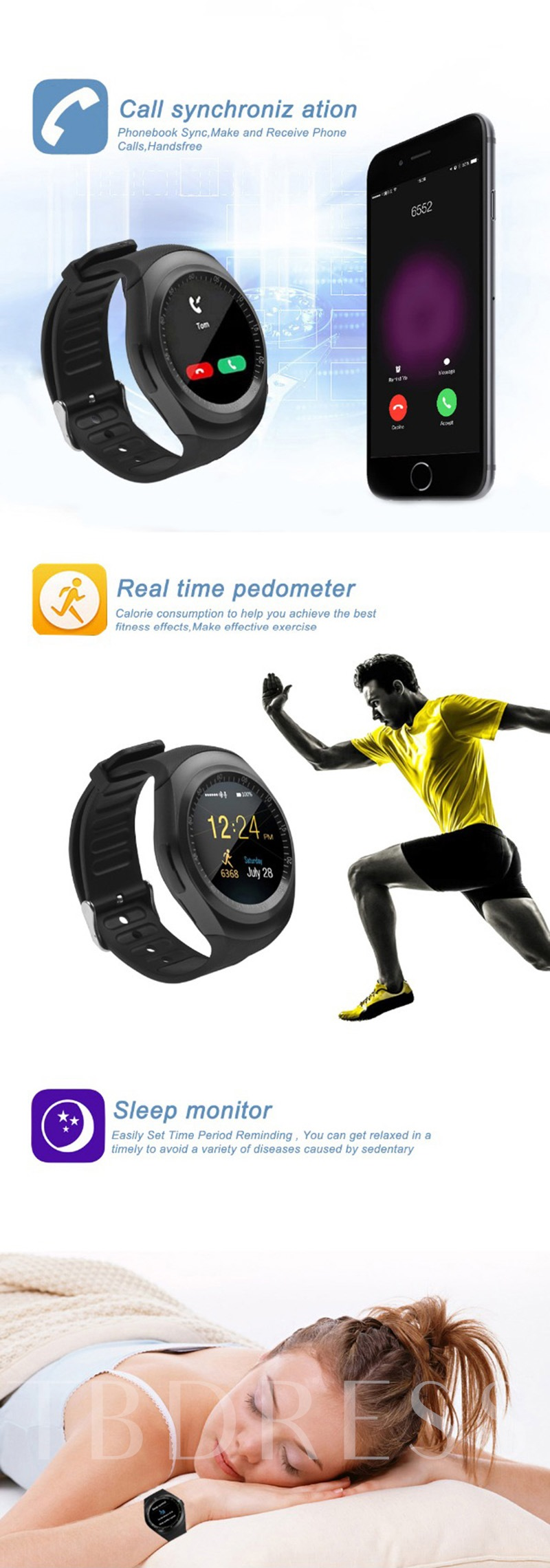Y1 Smart Watch With Sim Slot Waterproof For Samsung Lg Android Specifications