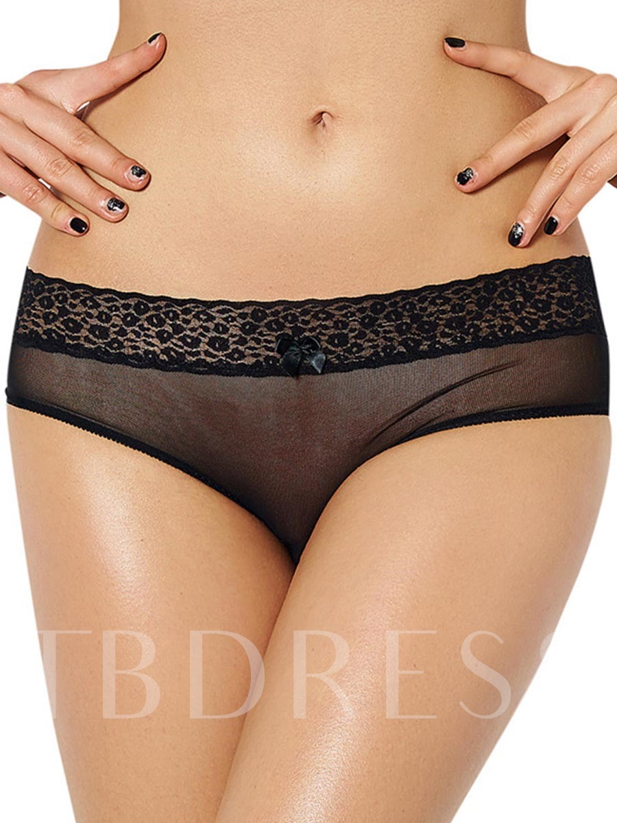Bowknot See-Through Lace Plain Panty