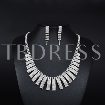White Gold Plated Diamante Tassel Jewelry Sets