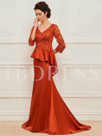 3/4 Length Sleeve Appliques Mother of the Bride Dress