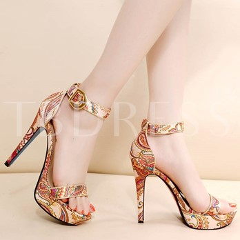 Print Floral Platform Buckle Women's High Heel Sandals