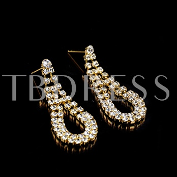 Gold Water Drop Diamante Earrings