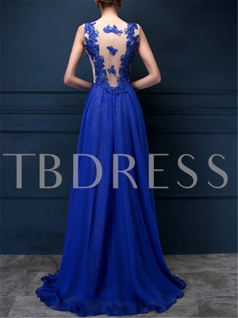 Jewel Appliques Lace Beadings Evening Dress