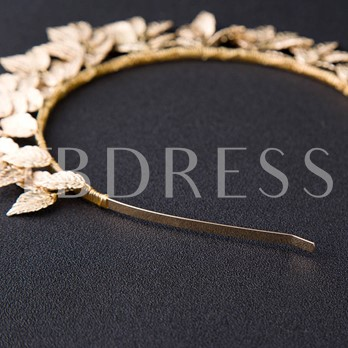 Alloy Gold Plated Leaf Crown Hair Accessories