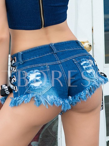 Sexy Hole Lace-Up Low-Waist Women's Hot Shorts