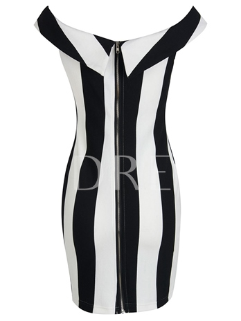 Boat Neck Striped Women's Sheath Dress