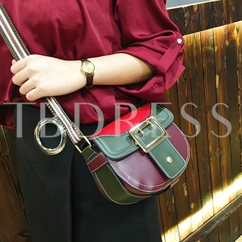 Casual Color Block PU Cross Body Bag
