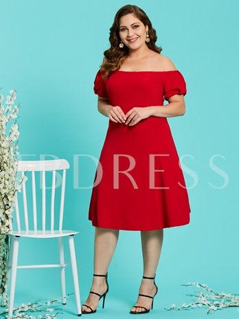 Puff Sleeve Plus Size Women's Day Dress