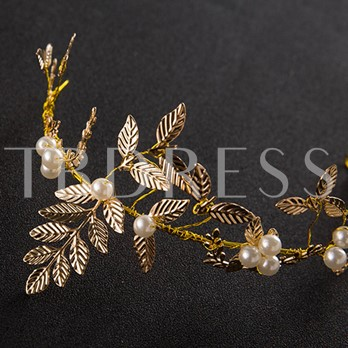 Overgild Synthetic Pearl Leaf Hair Accessories