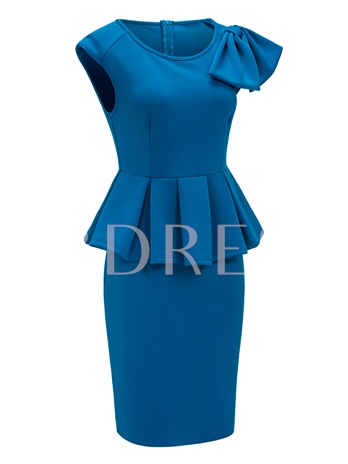 Blue Knot Double-Layered Women's Bodycon Dress