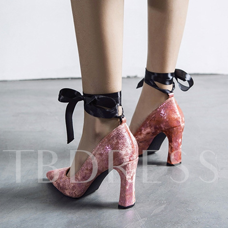 Velvet Chunky Heel Lace Up Strappy Pumps for Women