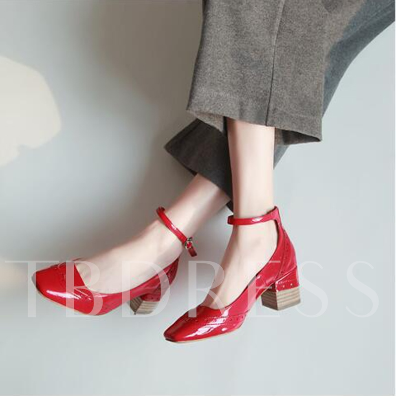 Line Buckle Square Toe Chunky Heel Women's Pumps Shoes